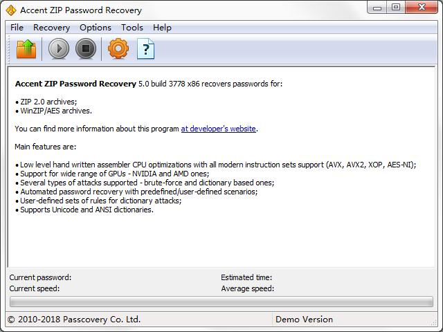 Accent ZIP Password Recovery