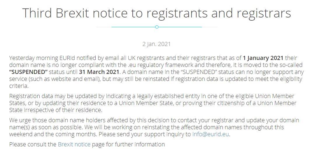 英国脱欧导致 .eu 域名使用权被剥夺,81000 个网站受影响