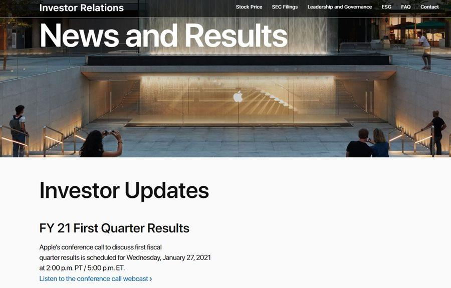 苹果官宣:1 月 27 日公布 2021 年第一财季收益
