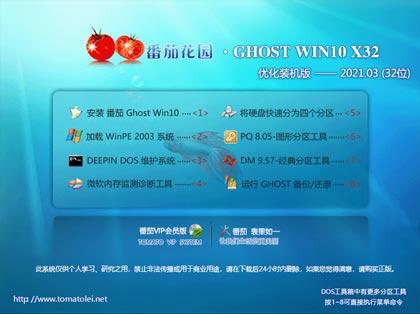 番茄花园 Win10系统 32位纯净版 V2021.03